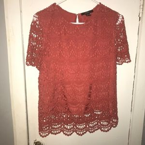 Coral short-sleeve blouse size S